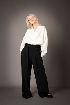 2021-22 A/W 006, Grampians Washable Wool Twill Tailored Baggy Shirt FRC-B04-106, Vintage Finished Double Georgette Slit Baggy Pants FRC-P03-500 Pants, Shirts, Collection, Vintage, Fashion, Gowns, Trouser Pants, Moda, Fashion Styles