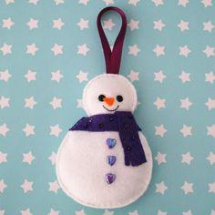 Snowman Felt Tree Ornament with Purple Scarf by hannahdoodle, $10.00