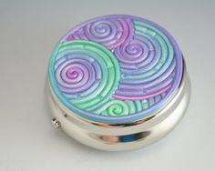 Pastel Pill Box in Purple, Lavender, Mint Green Polymer Clay Filigree