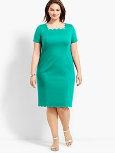 You'll be a standout in our Classic Ponte Sheath - only at Talbots! Satin Dresses, Sexy Dresses, Dress Outfits, Fashion Dresses, Girls Dresses, Short Sleeve Dresses, Curvy Girl Fashion, Plus Size Fashion, Mother Of The Bride Dresses Long