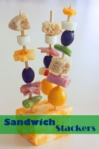 Pack-able Sandwiches on a Stick. Great for picky eaters - choose your own sandwich 'toppings' and the options are endless!