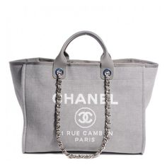 360294db3aeb CHANEL Canvas Deauville Large Tote Grey NEW ❤ liked on Polyvore featuring  bags