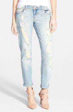 Sun & Shadow Destroyed Boyfriend Jeans (Light) | Nordstrom