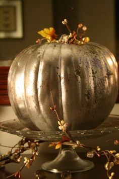 mercury glass faux pumpkin