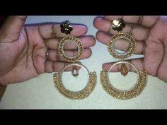 Tutorial Aretes de aros y cristales. - YouTube Cd Crafts, Diy Crafts Jewelry, Necklace Tutorial, Earring Tutorial, Seed Bead Earrings, Diy Earrings, Beaded Rings, Beaded Jewelry, Bead Weaving