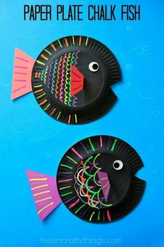 Adorable paper plate chalk fish easy craft for kids