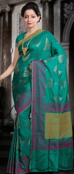 Turquoise #Green Pure #Banarasi Katan #Silk #Saree with Blouse @ $212.53   Shop @ http://www.utsavfashion.com/store/sarees-large.aspx?icode=shm45