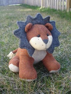 Stuffed wool lion from Recycled sweater plush. $40.00, via Etsy.