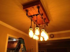 Glamour shot of our new dining room light fixture