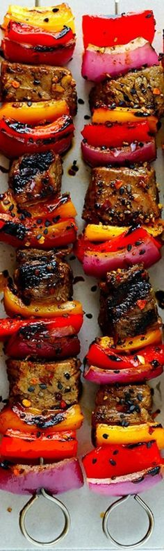 Korean Steak Kabobs ~ Made with a super-easy, flavorful marinade, and grilled to perfection with any vegetables you'd like... So flavorful and delicious!! #koreanfoodrecipes
