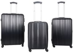 Elegant 3 Piece ABS Trolley Cases @ R2,300  Features: Fully Lined, 4 Spinner Rolling Wheels, Push Button Trolley Handle System, Zip Combination Lock, Impact Resistant, ABS Material  Set consists of: 55cm Cabin Size: 56.5 x 38 x 23cm, Weight: 2.7Kg, Capacity: 41L 65cm Trolley Case Size: 66.5 x 46 x 27.5cm, Weight: 3.5Kg, Capacity: 69L 75cm Trolley Case Size: 76.5 x 51 x 31cm, Weight: 4.3Kg, Capacity: 104L Trolley Case, Combination Locks, Lady, 3 Piece, Elegant, Travel, Classy, Viajes