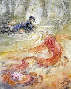 """With Pure Heart"" #watercolor  #fairytales #myth #koi #cinderella #chinesemyth #water #beautiful #art .   Www.patreon.com/StephanieLaw"