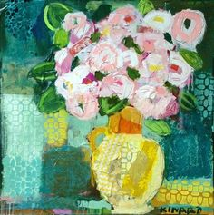 """""""Golden Pitcher"""" - by Cristy Kinard ~Collage Folk Art Flowers, Abstract Flowers, Flower Art, Abstract Art, Watercolor Artists, Fine Art Gallery, Mixed Media Art, Painting Inspiration, Altered Art"""