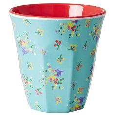 Medium Melamine Cup Two Tone with Mini Flower Print