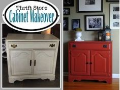 thrift store cabinet makeover, chalk paint, painted furniture