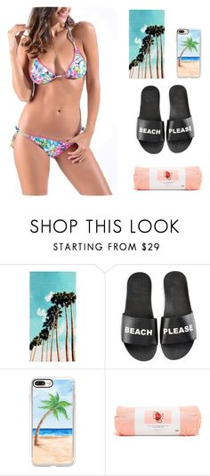 """beach time ,are u ready."" by suger-520 on Polyvore featuring PBteen, Schutz, Casetify, ban.do, Summer, swimwear and bellegal"