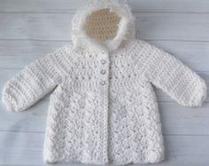 Crochet Baby Girl Sweater Bear Hood Baby Sweater by YarnForBaby