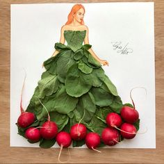 Dress made of radishes & their leaves by Edgar Artis Fashion Design Drawings, Fashion Sketches, Arte Fashion, Fashion Illustration Dresses, Unique Drawings, Dress Drawing, Creative Artwork, Leaf Art, Art Plastique