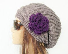Hand Knit Hat- Womens hat - chunky knit Slouchy Beanie  Slouch  Hat Flower  Winter Accessories knitted beret taupe Holiday  Fashion