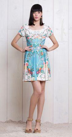 owl. anchor and flower print dress antix