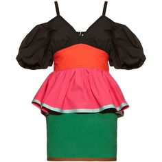 Isa Arfen Colour-block off-the-shoulder dress ($420) ❤ liked on Polyvore featuring dresses, multi, poppy dress, red peplum dress, red ruched dress, off the shoulder peplum dress and strap dress