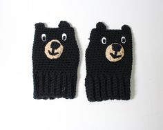 Black Bear Fingerless Gloves Animal Mittens by MsAmandaJayne