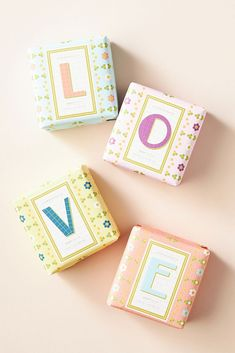 Give a little love to a special someone with this charming set of bar soaps. With a nourishing formula that gently cleanses skin, they impart a fresh, floral scent reminiscent of springtime. Holiday Gift Guide, Holiday Gifts, Bar Soap, Decorative Boxes, Fragrance, Gift Wrapping, Floral, Crafts, Anthropologie