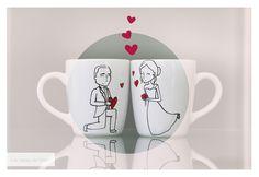 wedding coffee mug | Mug lovers | Lovely gitf | Regalo personalizado para bodas. #lastazasdesilvia #tazas #tazaspersonalizadas #mug #café #coffee #desayuno #ceramic #paint #coffeelover #cup #illustration #regalospersonalizados #wedding #lovely #bodas #amor #love