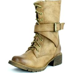 Dbdk Womens Margin-1 Military Side Zipper Lace Up Combact Riding... ($43) ❤ liked on Polyvore featuring shoes, boots, wedge heel boots, mid boots, wide flats, wedge boots and mid-calf boots