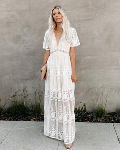 //VICI Exclusive// Remember The Day We Met Floral Lace Maxi Dress? This exquisite piece will have. Vestido Hippie Chic, Hippie Elegante, White Lace Maxi Dress, Bohemian White Dress, Long Floral Maxi Dress, Floral Dresses, White Dress Summer, Long White Casual Dress, Lace Maxi Dresses
