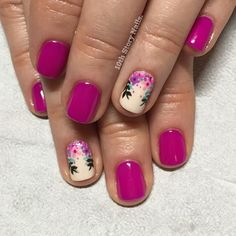 "Florals and laurels for Jackie with March MVP Gelish in ""Tahiti Hottie"" 