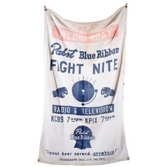 """Pabst Blue Ribbon Beer """"FIGHT NITE"""" Banner  USA  1950's  A vintage pre hipster Pabst Blue Ribbon every Wednesday night boxing canvas banner from San Francisco"""