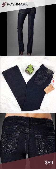True Religion Tori Crystal Women's Bootcut Jeans True Religion Tori Crystal Women's Bootcut jeans. Size 26 with 34' inseam. NWT.  Dark wash. No trades ❌ Modeling ❌No PayPal or off Posh transactions ❤️ I 💕Bundles ❤️Reasonable Offers PLEASE ❤️ True Religion Jeans Boot Cut