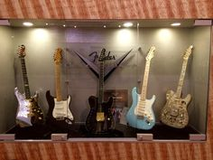 A couple of Fender guitars from the custom shop at the Corona factory in California, USA.