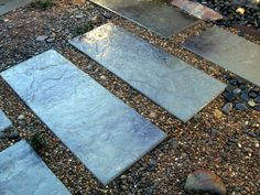 DIY concrete pavers - love this simple and green idea for getting out to the Studio Shed!