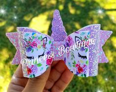 Unicorn bow glitter bow unicorns unicorn bows glitter bows