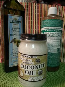 homemade body wash with coconut oil, olive oil, and Dr. Bronner's Magic Soap