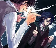 Young Severus Snape givin James Potter the bird. Fanart Harry Potter, Harry Potter Severus Snape, Harry Potter Images, Severus Rogue, Harry Potter Ships, Harry Potter Wallpaper, Harry Potter Universal, Harry Potter Fandom, Harry Potter Hogwarts