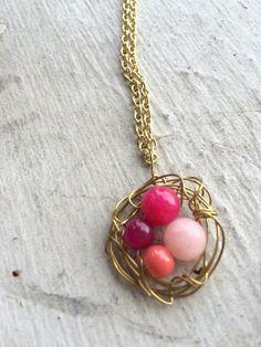 Bird nest necklace gold pink