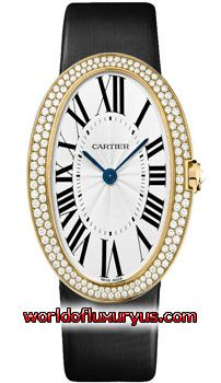 CARTIER - BAIGNOIRE - WB520022 (18CT YELLOW GOLD WITH DIAMONDS / SILVER DIAL / BLACK FABRIC)