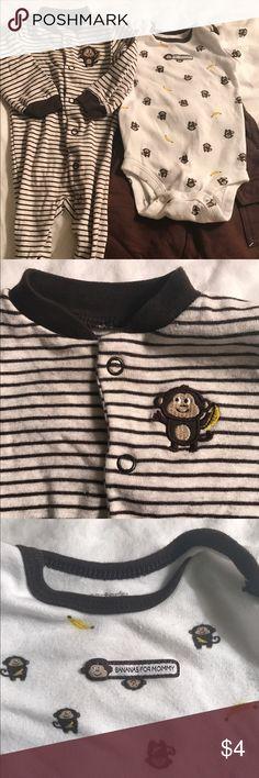 Monkey themed matching set 1 footie sleeper, 1 onesie & 1 pair of pants. Matching Sets