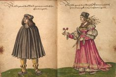 """""""Tracht book"""" of Christoph Weiditz, Germanic National Museum Nuremberg, ms. 22474th Bl. 14-15 costume of Portuguese / costume of Portuguese women   http://dlib.gnm.de/item/Hs22474"""