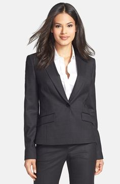 Free shipping and returns on BOSS HUGO BOSS BOSS 'Juleila' Check Print Suiting Jacket at Nordstrom.com. Tonal grosgrain trim tracing the lapels and flap pockets lends a feminine touch to an expertly tailored, menswear-inspired jacket with one-button styling. A subtle plaid patterns the professional design.