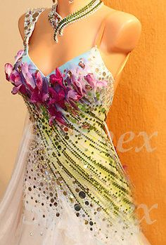 Ballroom Standard Waltz Tango Foxstep Dance Dress US 10 UK 12 White Purple Green