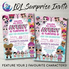 LOL SURPRISE Doll Invitation ** choose from 2 designs (with or without pets) ** the two main dolls can be changed to your favourite characters! ** wording can be changed to suit your occasion Other LOL Dolls Items: www.etsy.com/shop/ArtyLunaDesigns?ref=seller&search_query=LOL >>