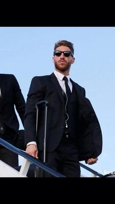 Sergio Ramos getting off the plane before the Champions League final.