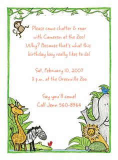 Zoo Invitations-  Let's go to the zoo! The zoo animals are waiting for you! This party invitation has happy zoo animals including a monkey, giraffe, lion, elephant, zebra, birds, crocodile and a friendly turtle!