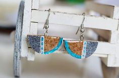 Martinuska / Polkruh strieborný/cork earrings