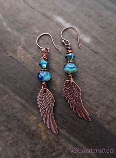 boho angel wing earrings, rustic angel wing earrings, copper earrings, blue angel wing earrings, religious earrings, bohemian earrings Wire Wrapped Earrings, Copper Earrings, Beaded Earrings, Boho Jewelry, Jewelry Crafts, Rustic Blue, Angel Wing Earrings, Mothers Day Presents, Blue Angels