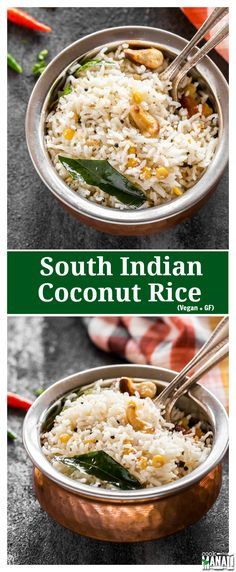 Coconut Rice made the south Indian way! This easy rice dish is lightly spiced and is perfect for those busy days when you are looking for a quick meal. Vegan and gluten-free. Find the recipe on www.cookwithmanali.com